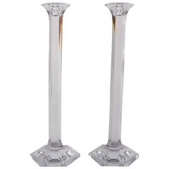 Pair of French Baccarat Cut Crystal Single Light Candlesticks, 20th Century