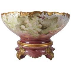 Antique French Tressemanes Vogt Hand-Painted, Gilt Limoges Porcelain Punch Bowl