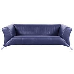 Rolf Benz 322 Designer Sofa Dark Blue Navy Leather Three-Seat Couch Modern