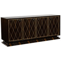 Eliot Side Cabinet, Matte Macassar Ebony, Sycamore Inlay and Polished Nickel