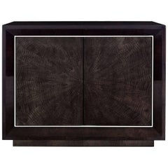 Modern Chiltern Side Cabinet, Sycamore Black and Polished Nickel, Two Door