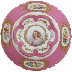 Antique French Sevres Hand-Painted and Gilt Porcelain Signed Portrait Plate