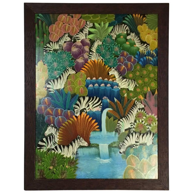 Vintage Haitian Oil Painting