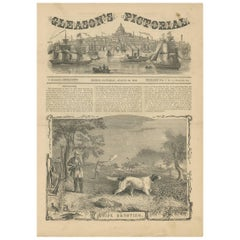 Antique Print of Snipe Shooting by Gleason's Pictorial, 1853