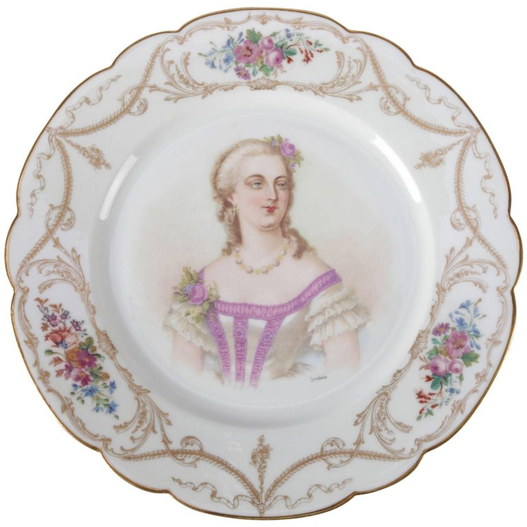 Antique French Sevres Hand-Painted & Gilt Porcelain Artist Signed Portrait Plate For Sale