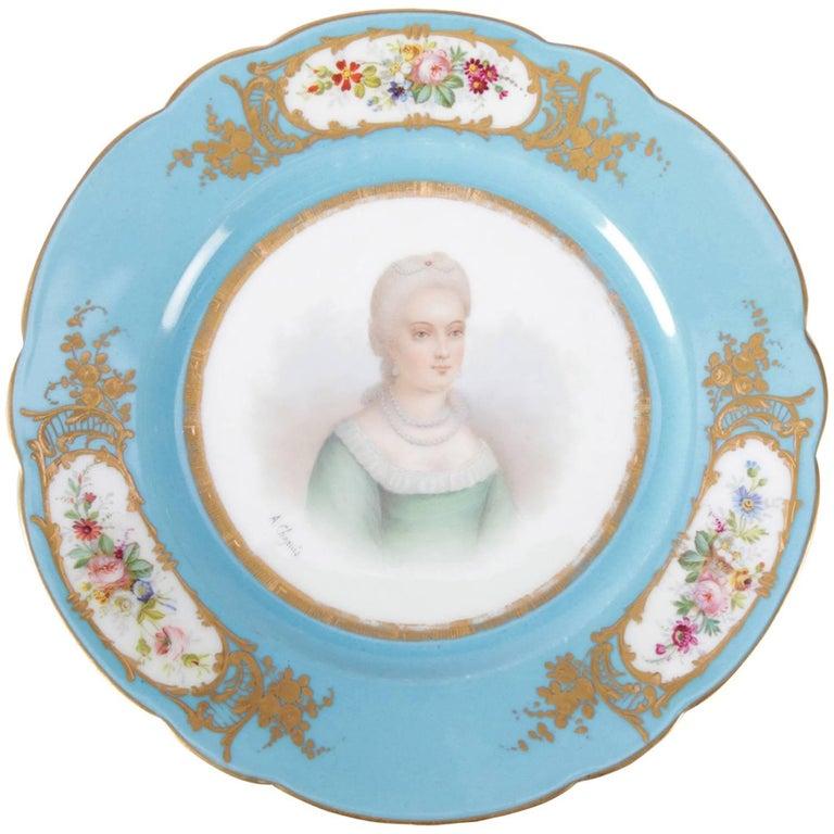 Antique French Sevres Hand-Painted & Gilt Porcelain Artist Signed Portrait Plate