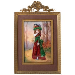French Victorian Enamel on Copper Gibson Girl Portrait Plaque, Signed Rochat