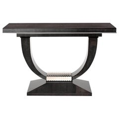 Albany Console Table, High Gloss Sycamore Black and Polished Nickel