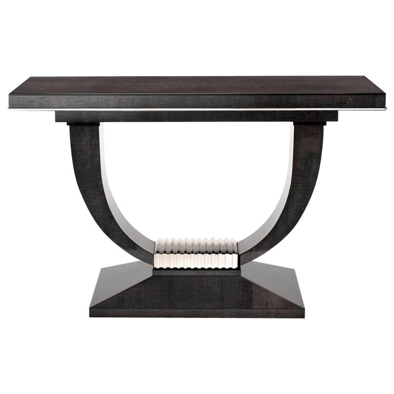 Albany Console Table, High Gloss Sycamore Black and Polished Nickel For Sale