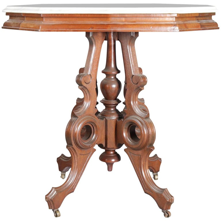 Brilliant Victorian Eastlake Carved Walnut And Marble Parlor Table 19Th Century Short Links Chair Design For Home Short Linksinfo