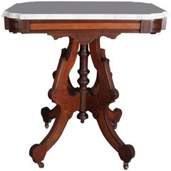 Victorian Eastlake Carved Walnut, Burl and Marble Side Table, 19th Century