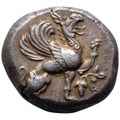 Ancient Greek Silver Griffin Stater Coin from Teos, 510 BC
