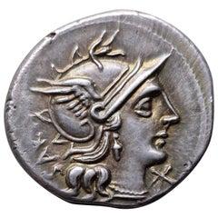 Roman Republican Denarius of Marcus Atilius Serranus, 148 BC
