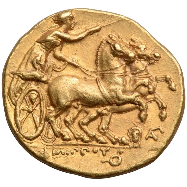 Ancient Greek Gold Stater Coin of King Philip II of Macedon, 323 BC