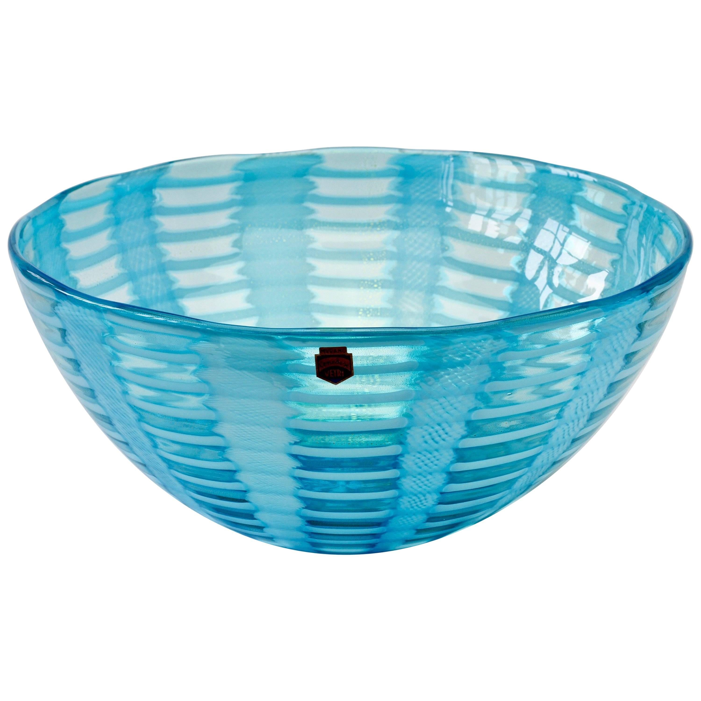 Huge Signed Cenedese 'Tessuti' Blue Murano Art Glass Bowl, circa 2000