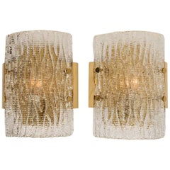 Pair of Structured Ice Glass Wall Sconces by Kalmar Modern Midcentury, 1960