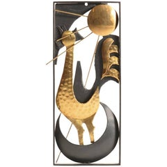 Handmade Black Metal and Brass Wall Art Rooster, Czechoslovakia, 1970