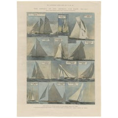 Antique Print of the America Cup Race, British and Canadian Yachts, 1901