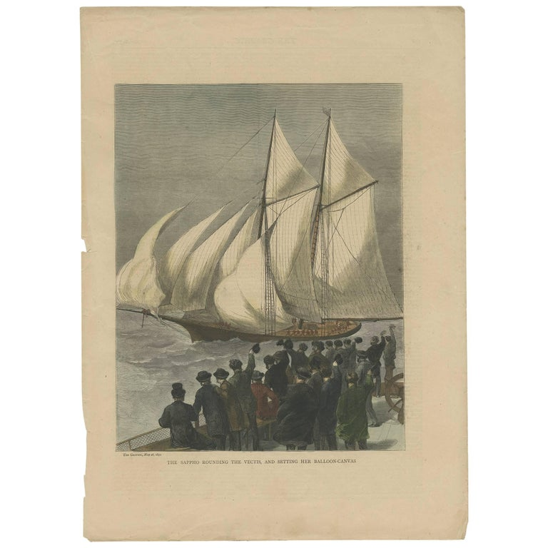 Antique Boat Print of the Sappho Rounding the Vectis by the Graphic, 1870