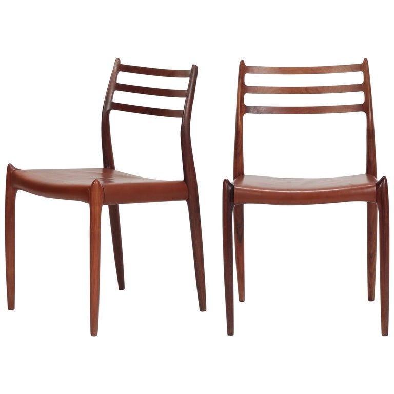 Pair of Niels Moller Chairs Model 78 J.L. Moller, 1960s