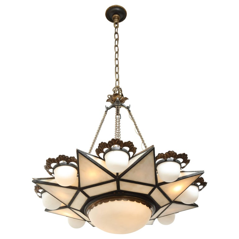 Bronze-Mounted Moorish Style Ceiling Fixture Attributed to E.F. Caldwell