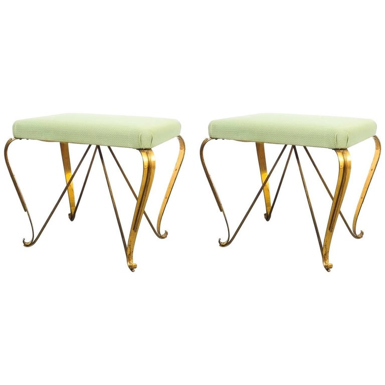Pair of Midcentury Gold Brass Stools, Italy, 1950 For Sale