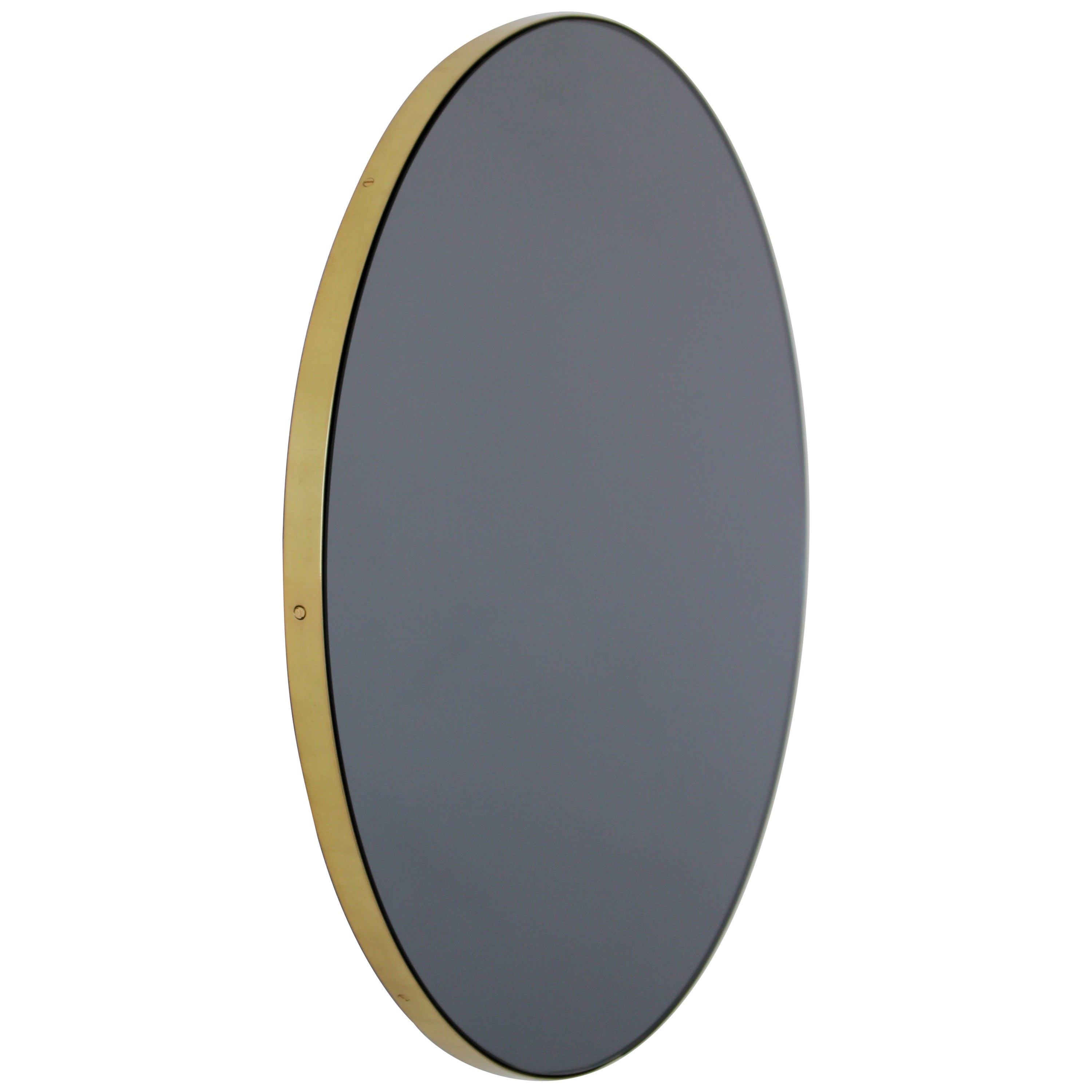 Orbis™ Black Tinted Round Modern Handcrafted Mirror with a Brass Frame