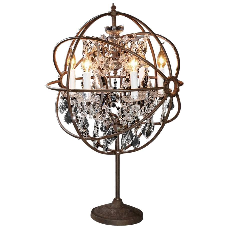 Crystal Antique Table Lamp Iron And Crystal For Sale