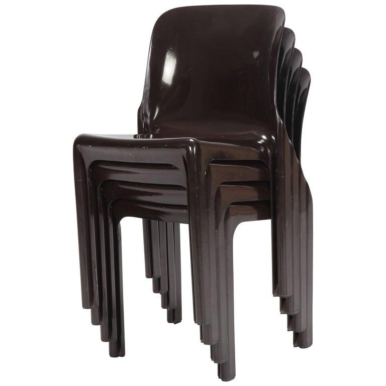 Four Vico Magistretti Selene Chairs, Artemide, 1960s