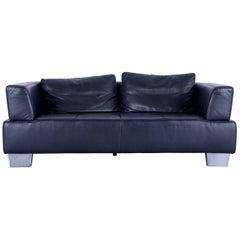 Ewald Schillig Moon Designer Sofa Black Leather Couch Two-Seat Modern