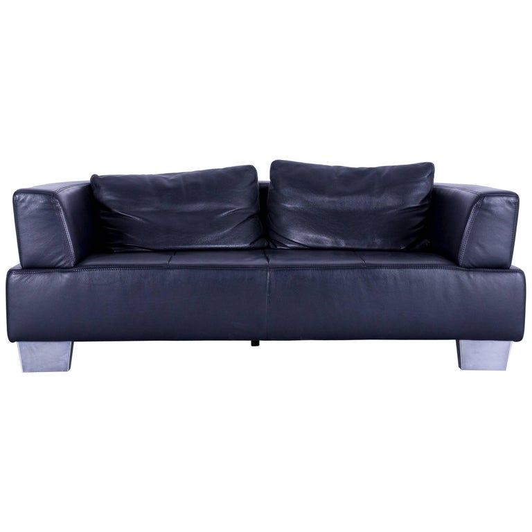 ewald schillig moon designer sofa black leather couch two seat modern for sale at 1stdibs. Black Bedroom Furniture Sets. Home Design Ideas