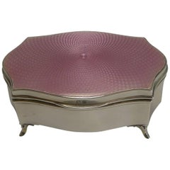 Silver and Pink Guilloche Enamel Jewelry Box by Asprey, London