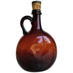 Amber Glass Flagon or Jug with Cork and Metal Stopper Handblown, Ca 1825