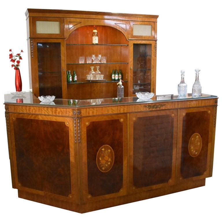 Burr Walnut and Marquetry Corner Bar by H&L Epstein