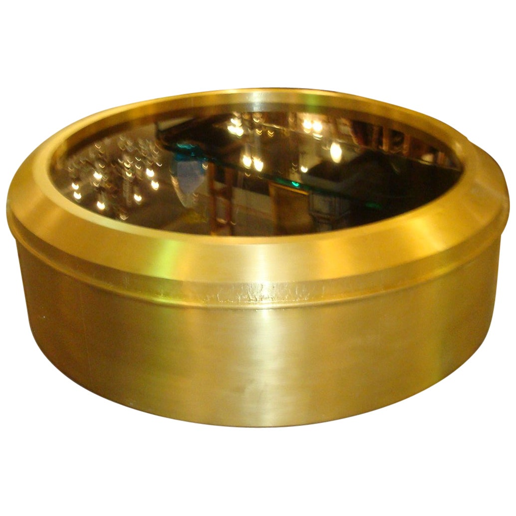 Large Brass and Black Glass Round Coffee Table
