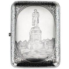 Antique Russian Solid Silver & Niello Pushkin Cigarette Case, circa 1893