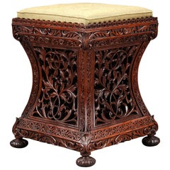 19th Century Anglo-Indian Carved Wood Stool or Seat