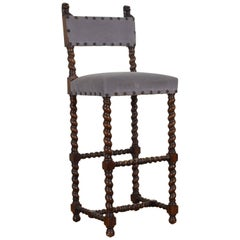 French Louis XIII Style Oak Tall Chair, Late 19th-Early 20th Century