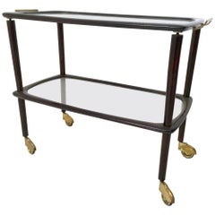 Beech, Brass and Glass Serving Cart, Italy, 1960s