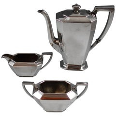Fairfax Durgin Gorham Sterling Silver Demitasse Tea Set 3-Piece #40 Hollowware