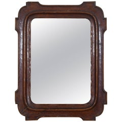 French Carved Walnut Louis Philippe Small Mirror, Mid-19th Century