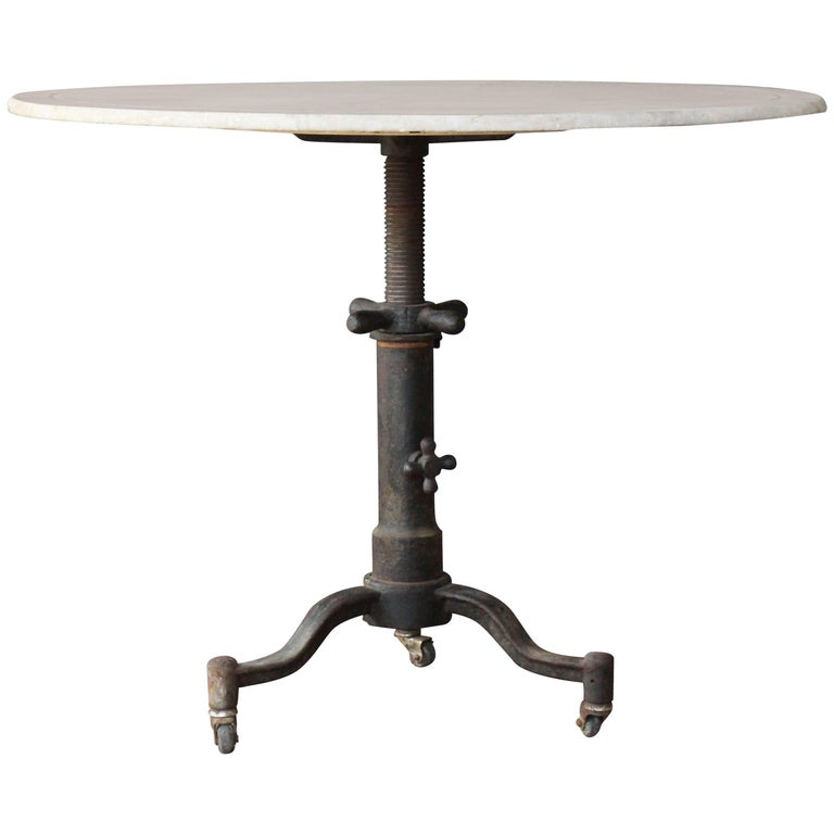 1920s Industrial Cast Iron and Marble Table For Sale