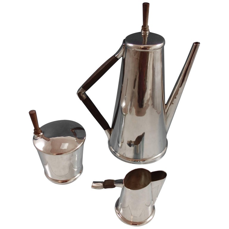 Sanborns Mexican Mexico Sterling Silver Coffee Set 3pc with Rosewood #7015