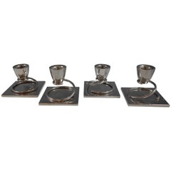 Taxco MV Mexican Mexico Sterling Silver Candleholders Set of Four Pieces, 1970