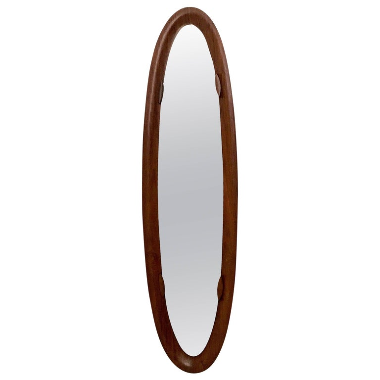 Oval Wall Mirror with a Wooden Frame, Italy, 1960s-1970s