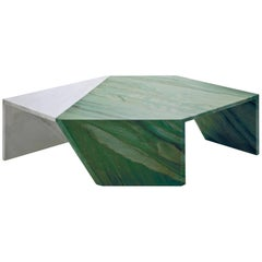 Origami Marble Living Table, Marble Verde Aquamarina