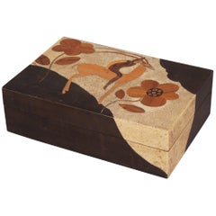 Art Deco Cigarette Box in Wood Marquetry and Shagreen