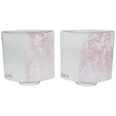 """Rare Pair of Pink and White """"Confetti"""" Murano Vetri Glass Lamps"""