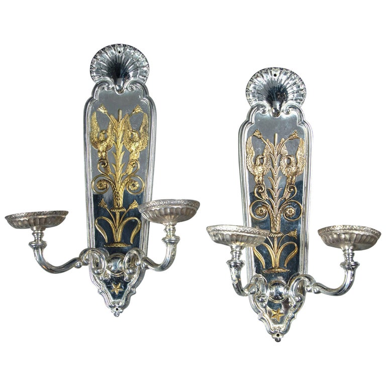 Pair of circa 1920 Silver Plated Caldwell Sconces with Gilt Bronze Design