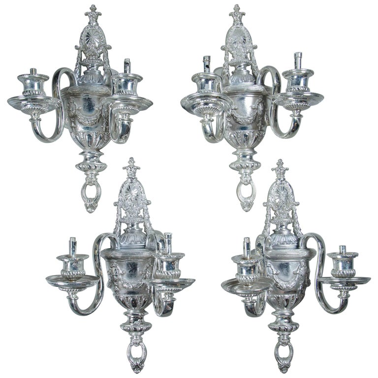 Set of Four circa 1920 Silver Plated Sconces